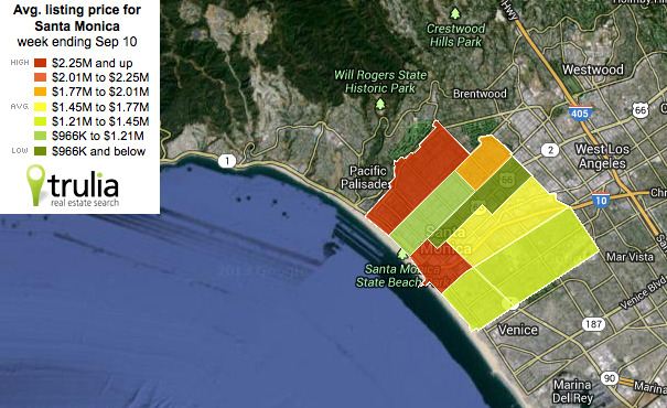 real estate map of santa monica, california